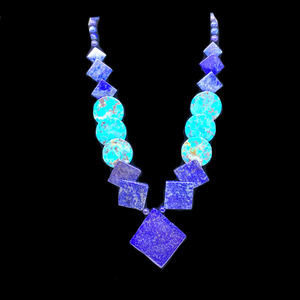 Vtg Jay King 925 Sterling Silver Lapis Turquoise Geometric Necklace DTR Boxed